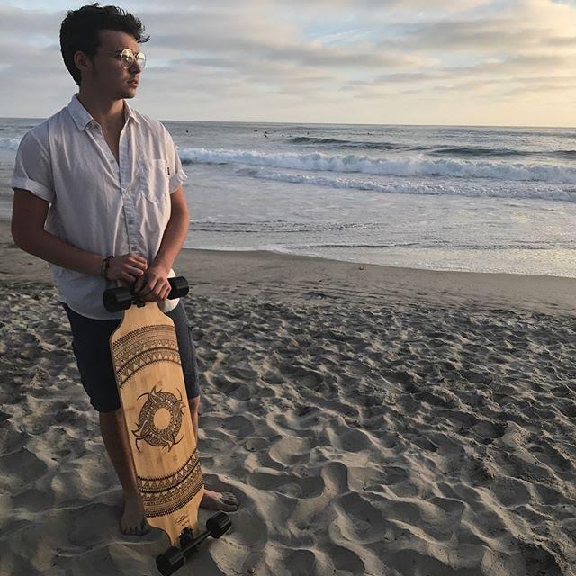 Skateboard Artist Longboard Beach